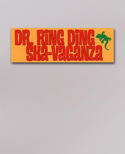 Dr. Ring Ding Ska-Vaganza - Schriftzug Aufkleber gelb/rot