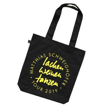 Schweighöfer Lachen Weinen Tanzen, Beutel Bag Schwarz, gelber Schriftzug
