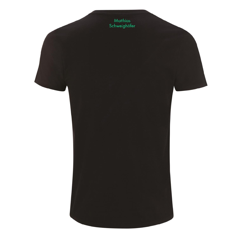 Schweighöfer Lachen Weinen Tanzen, T-Shirt T-Shirt Schwarz, grüner Schriftzug
