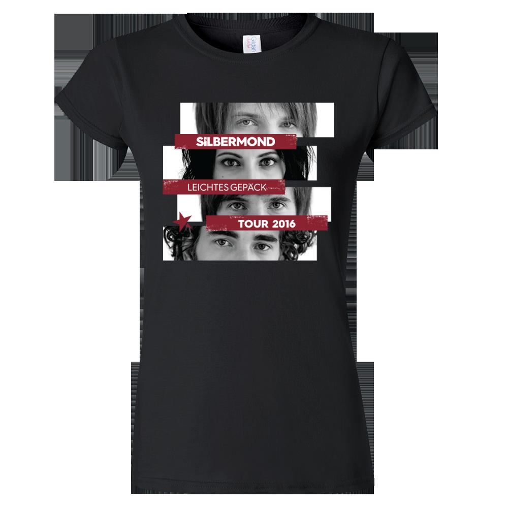 Silbermond Augen Collage Girl Shirt Girlie schwarz