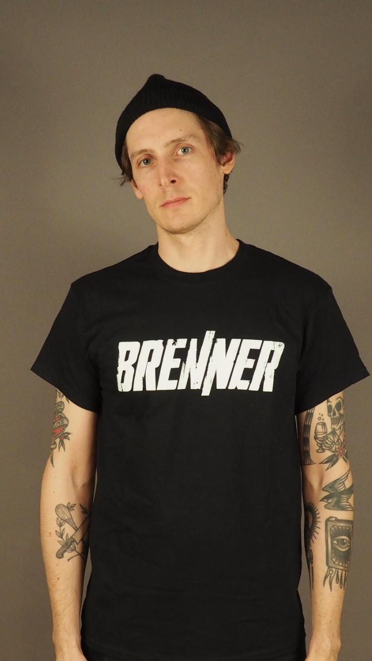 Brenner Schriftzug Shirt Schwarz