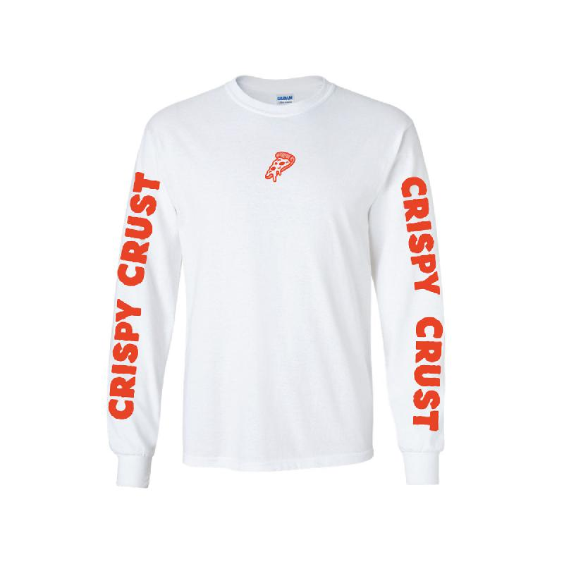 Crispy Crust Records Pizza Longsleeve, White