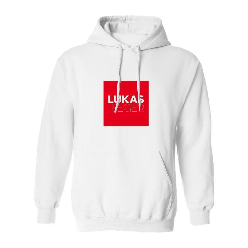 Lukas Rieger Square Logo Hoodie, Weiß