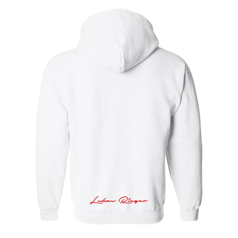 Lukas Rieger Square Logo Hoodie Weiß